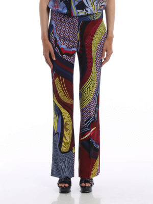 Versace: casual trousers online - Greek fret print flared trousers