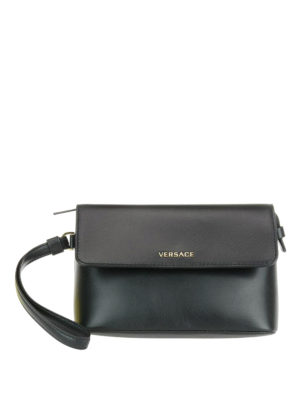 Versace: clutches - Gold-tone logo leather clutch