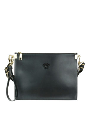 Versace: clutches - Leather clutch with small Medusa