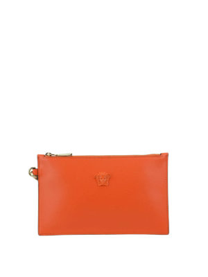 Versace: clutches - Leather small orange pouch