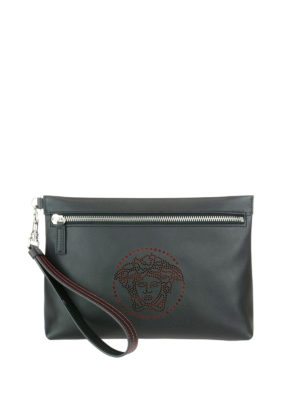 Versace: clutches - Medusa leather clutch