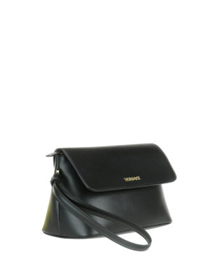 Versace: clutches online - Gold-tone logo leather clutch
