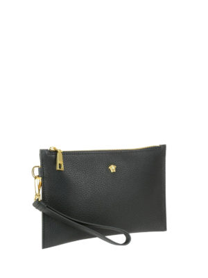 Versace: clutches online - Leather clutch with small Medusa
