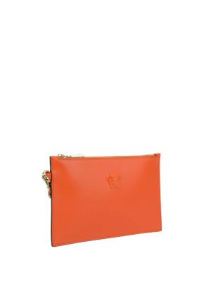Versace: clutches online - Leather small orange pouch