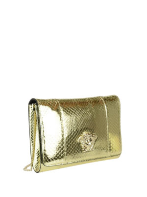 Versace: clutches online - Palazzo laminated leather clutch