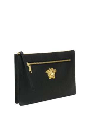 Versace: clutches online - Palazzo leather large clutch
