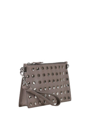 Versace: clutches online - Round studded leather clutch