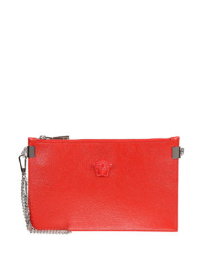 Versace: clutches - Palazzo leather flat clutch