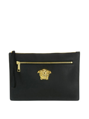 Versace: clutches - Palazzo leather large clutch