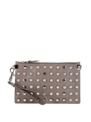 Versace: clutches - Round studded leather clutch