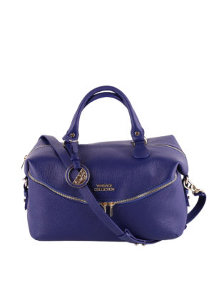 Versace Collection: bowling bags - Blue hammered leather bowling bag