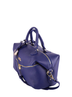 Versace Collection: bowling bags online - Blue hammered leather bowling bag