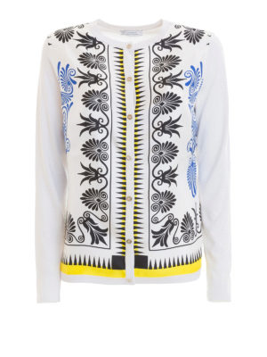 VERSACE COLLECTION: cardigan - Cardigan seta bianca stampa barocca