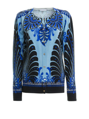 VERSACE COLLECTION: cardigan - Cardigan in seta stampa barocca blu