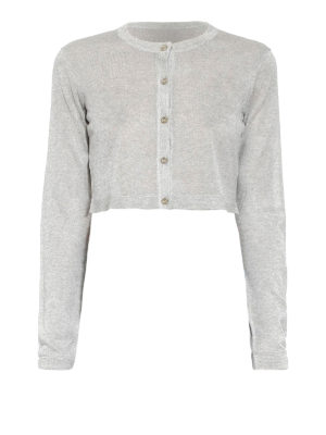 Versace Collection: cardigans - Lurex-knit crop cardigan