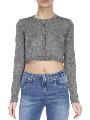 Versace Collection: cardigans online - Lurex-knit crop cardigan