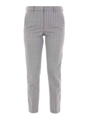 Versace Collection: casual trousers - Pinstriped cigarette trousers