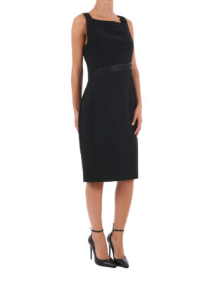Versace Collection: cocktail dresses online - Embossed trims bon ton sheath dress