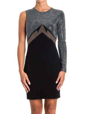 Versace Collection: cocktail dresses online - One sleeve two-tone fitted dress
