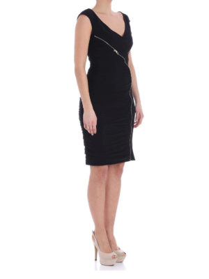 Versace Collection: knee length dresses online - Draped side zipped dress