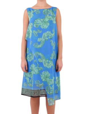 Versace Collection: knee length dresses online - Overlayered printed crepe dress