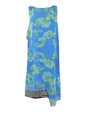 Versace Collection: knee length dresses - Overlayered printed crepe dress