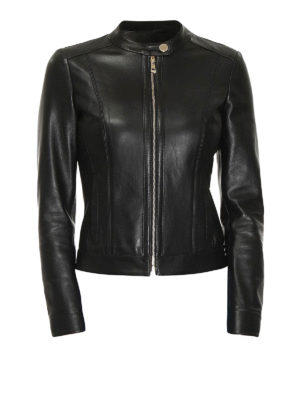 Versace Collection: leather jacket - Calf leather biker jacket