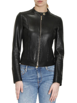 Versace Collection: leather jacket online - Calf leather biker jacket