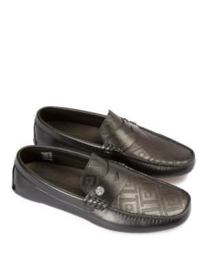 Versace Collection: Loafers & Slippers online - Drilled Greca Key loafers