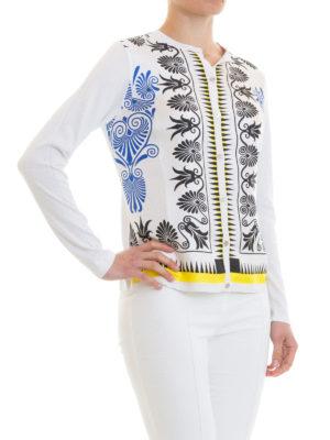 VERSACE COLLECTION: cardigan online - Cardigan seta bianca stampa barocca