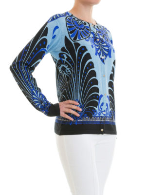 VERSACE COLLECTION: cardigan online - Cardigan in seta stampa barocca blu