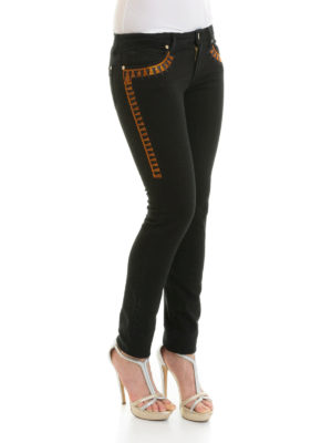 a sigaretta - Jeans slim neri con decorazione