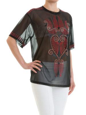 VERSACE COLLECTION: t-shirt online - T-shirt in rete nera decorata