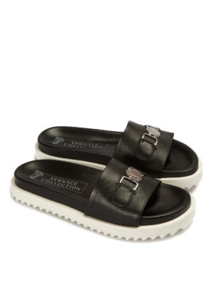 Versace Collection: sandals online - Clamp detail leather slide slippers