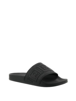 Versace Collection: sandals online - Greca Key black slide sandals