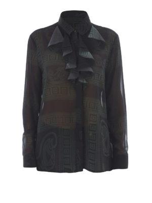 VERSACE COLLECTION: camicie - Camicia chiffon fantasia con jabot