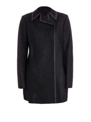 Versace Collection: short coats - Double-breasted wool blend peacoat