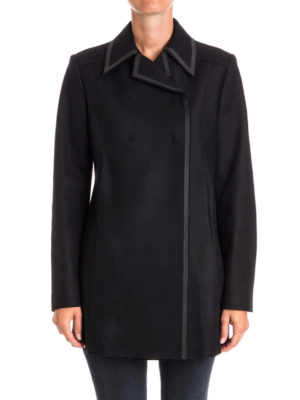 Versace Collection: short coats online - Double-breasted wool blend peacoat