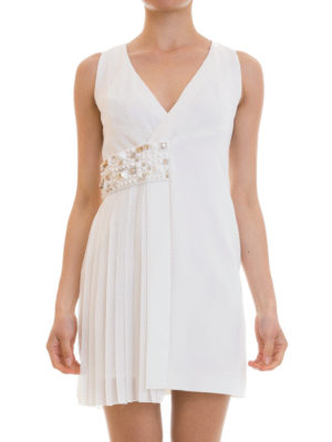 Versace Collection: short dresses online - Studded and pleated panelled dress