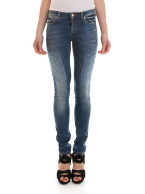 Versace Collection: skinny jeans online - Rhinestone embellished skinny jeans