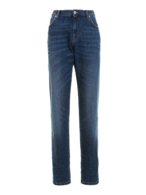 Versace Collection: straight leg jeans - Embroidered logo dark wash jeans