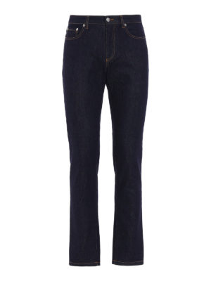 Versace Collection: straight leg jeans - Medusa Head embroidery slim jeans