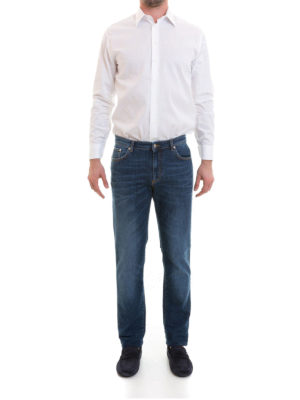 Versace Collection: straight leg jeans online - Embroidered logo dark wash jeans