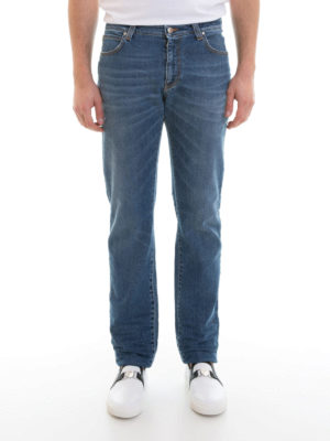 Versace Collection: straight leg jeans online - Faded denim classic jeans