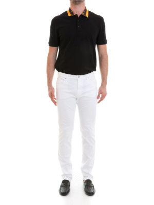 Versace Collection: straight leg jeans online - Tonal embroidered logo white jeans