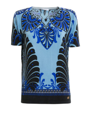 VERSACE COLLECTION: t-shirt - T-shirt in seta stampa barocca blu