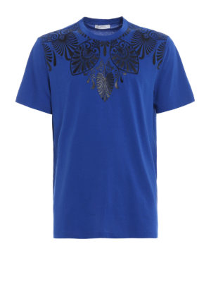 Versace Collection: t-shirts - Embellished royal blue T-shirt