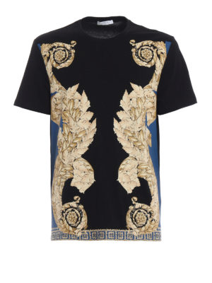 51f116c6c VERSACE COLLECTION: t-shirt - T-shirt con stampa barocca sui toni dell