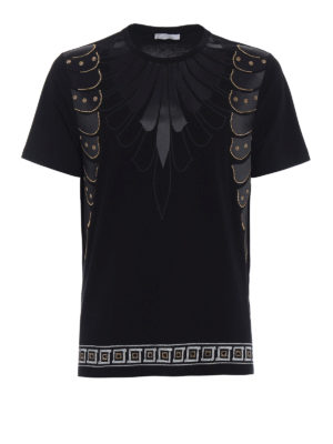 Versace Collection: t-shirts - Golden stud embellished black Tee