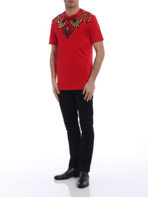 Versace Collection: t-shirts online - Embellished red T-shirt